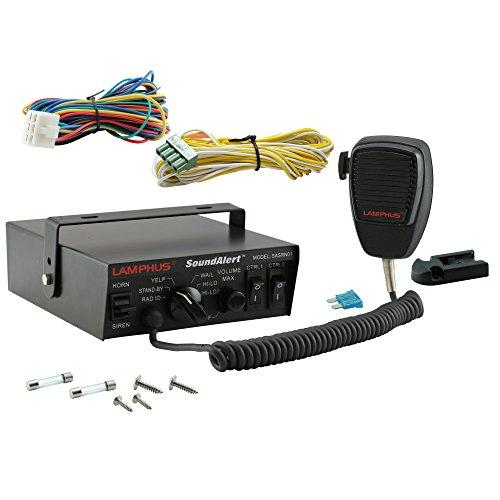 LAMPHUS SoundAlert 100 Watt Hand-held Microphone & 5 Audio Warning Mode Electronic Air Horn/Siren Light-Control Switch Box