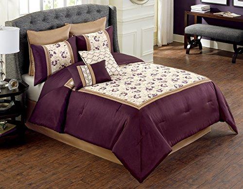 8 Piece Whitney Purple/Ivory Comforter Set Queen