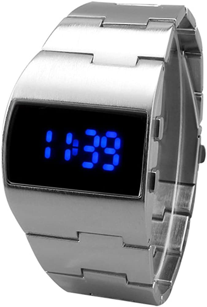 Relojes de Pulsera para Hombres - Dxlta Impermeable Reloj LED de Acero Inoxidable, Negocio Relojes Digitales