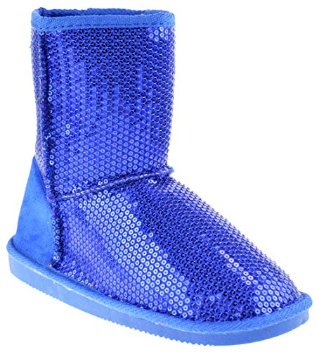 Pom-016KM Little Girls Sequin Slip On Shearling Boots Royal Blue 13