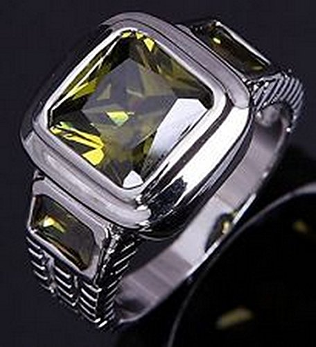 - YD Jewels - Hot Band Size 6 Square Cut Mens Peridot 18K Gold Filled Fashion Rings
