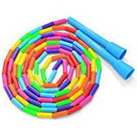 BuyJumpRopes Segmented Kids Jump Rope - Beaded Playground Rope for Kids with Shatterproof Beads and Durable Plastic Handles