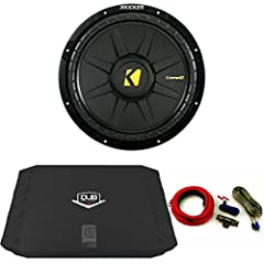 "Kicker 40CWD122 Comp 12"" Sub with 480 Watt DUB Series Amp and wire kit Kicker CompD 12 2 Ohm Subwoofer 40CWD122 Specifications Size (in, cm): 12,30 Impedance (Ohms): 2 or 4 SVC Power Watts (peak/RMS): 600/300 Sensitivity (dB @ 1W, 1m): 88.3 M..."