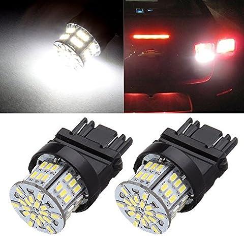 CCIYU 2 Pack White 3157 6000K 54SMD Epistar LED Bulbs DRL Light Back up/Reverse Light Brake Light Parking Light Tail Light R-turn Signal F-turn Signal (2002 Ford Focus Brake Light)