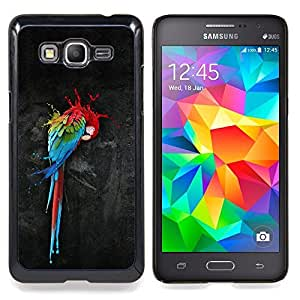 """Qstar Arte & diseño plástico duro Fundas Cover Cubre Hard Case Cover para Samsung Galaxy Grand Prime G530H / DS (Loro Arte Pintura colorida de la acuarela del arte del pájaro"""")"""