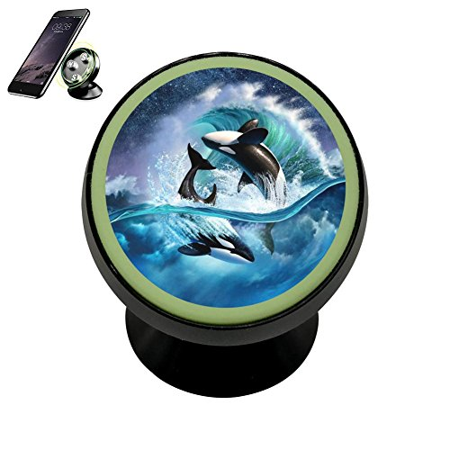 Universal Magnetic Phone Car Mount Holder Metal Luminous 360 Degree Rotation Car Dashboard, Car Phone Mount Luminous Magnetic Car Phone Holder Print Whales are Playing
