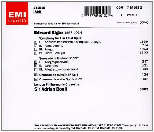 Elgar: Symphony No. 1 in A Flat / Serenade for Strings / Chanson de nuit / Chanson de matin by EMI Records