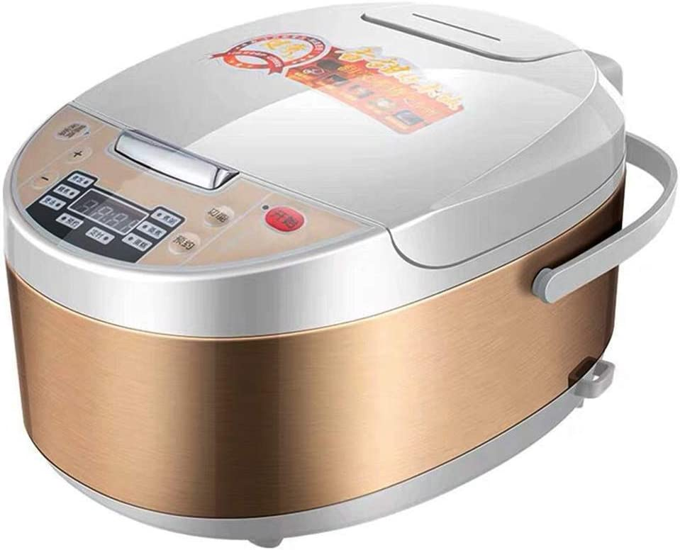 TQMB Rice Cooker Food Steamer Multi Digital 5L Programmable Low Removal Sugar Stewpot Intelligent Grain Maker Health Stainless Steel Instant Keep Warm with Steam & Rinse Basket