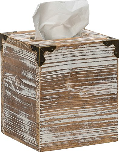 Rusoji Rustic Style Torched Wood Square Facial Tissue Box Holder Cover with Metal Accents, Brown by Rusoji (Image #3)