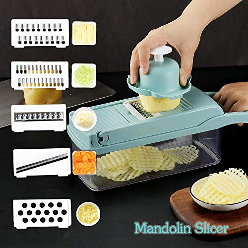 Vegetable chopper, Onion chopper Mandoline Slicer with Stainless steel blade Include Clean Brush and Hand Guard Made in USA (Green)