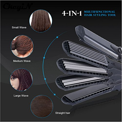 Chi Enhancer (Hair Straightener & Corn Wide Waves Plate 4 Style Interchangeable Hair Curling Iron Corrugated Flat Iron Hair Curler)