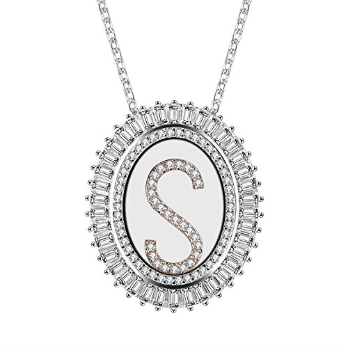 Caperci Oval Two-Tone Cubic Zirconia Alphabet Initial Letter S Pendant Necklace for Women, 18
