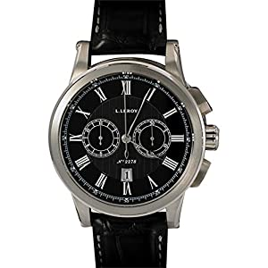 Leroy 18K White Gold Marine Chronograph Gent's LL202-2. Black Dial