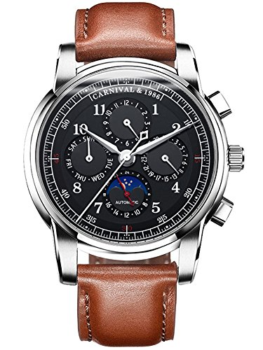 ications Calendar Moon Phase 24-Hours Analog Automatic Mechanical Watch Calfskin Band (Brown Leather-Black) ()