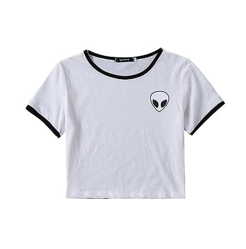 Camisetas Cortas Manga Corta Mujer Camiseta de Rayas Camisas de Mujer Camisetas de Tirantes Anchas R...
