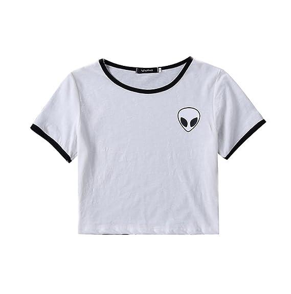 Camisetas Cortas Manga Corta Mujer Camiseta de Rayas Camisas de Mujer Camisetas de Tirantes Anchas Remeras