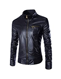 Partiss Men's Slim Fit PU Leather Jacket