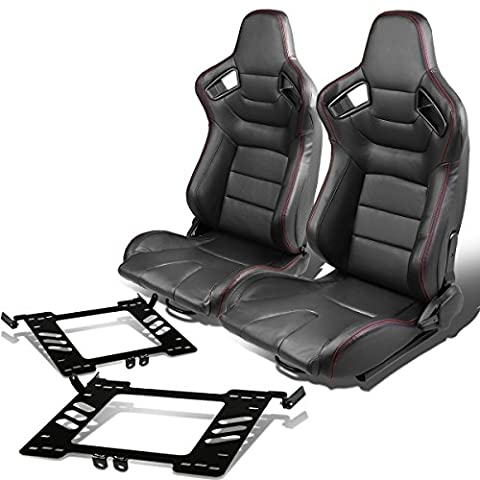 Pair of RS-028-BK PVC Leather Reclinable Racing Seat+Bracket for VW Golf/Jetta/Beatle (Backwards Beatles)