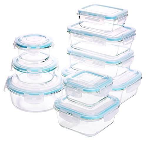 Glass Food Storage Container Set - 18 Pieces (9 Containers + 9 Lids) Transparent Lids - BPA Free - For Home Kitchen or Restaurant - by Utopia (White Transparent Refrigerator)