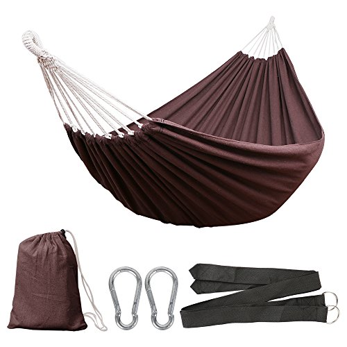 Anyoo Cotton Garden Hammock Outdoor Camping Portable 450lbs Capacity Lightweight with Carry Bag for Patio Yard Beach by Anyoo