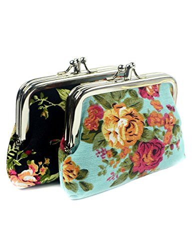 POPUCT Fashion Women's Cute Classic Exquisite Buckle 2 Pockets Coin Purse(2 pack/black blue) -