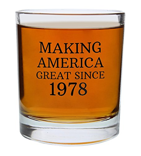 40th Birthday Gifts for Dad Mom Making America Great Since 1978 Republican Conservative 40th Birthday Party Supplies Gift Lowball Glasses 2-Pack Round Lowball Tumbler Set Black by ThisWear (Image #4)