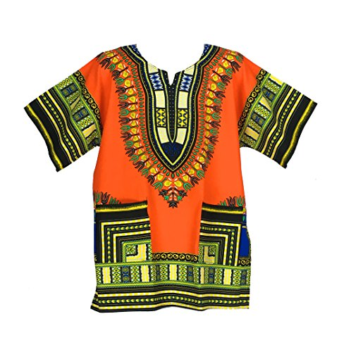 Vipada Handmade's Dashiki Shirt Men's Dashiki African Shirt Free Size Several Colors (Orange)