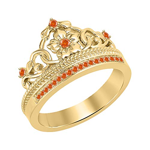tusakha Beautiful 0.25ctw Created Orange Sapphire 18K Yellow Gold Plated Princess Crown Ring-Fashion Flower Ring for Womens 925 Sterling Silver