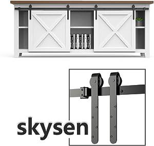 skysen 6ft Double Door Cabinet Sliding Barn Door Hardware Kit Super Mini Sliding Door Hardware for Wardrobe Cabinet TV Stand (ykc4)