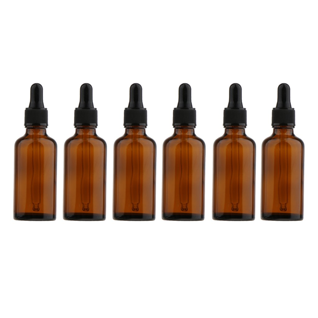 Dovewill Packs of 6 Pieces Empty Glass Amber Pipette Bottles Dropper Eye Essential Oil Vials - Brown, 100ml