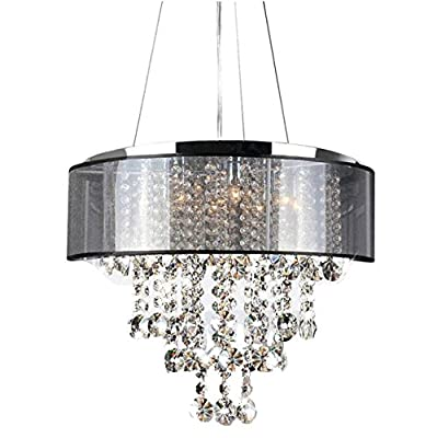 New Galaxy Lighting Chrome Finish Translucent Black Shade 9-light Crystal Chandelier Pendant Hanging Ceiling Lamp