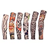 Edealing Cycling Armwarmer Stretchable Fake Arts Tattoo Sun UV Protection Sleeves For Outdoor Sports Running Golf Baseball, Set Of 6 (Style A)