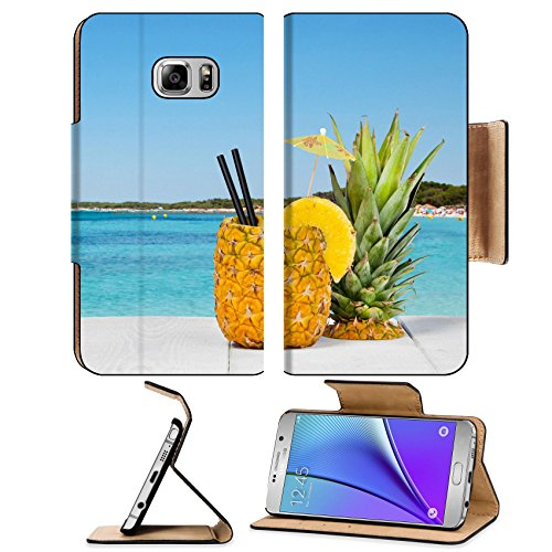 Luxlady Premium Samsung Galaxy Note 5 Flip Pu Leather Wallet Case Note5 Image Id  41066810 Pineapple Juice Served In The Peel On White Wood Table