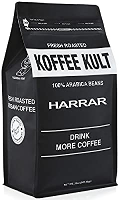Koffee Kult Ethiopian Harrar Coffee - Whole Bean Coffee- Fresh Gourmet Single Origin - 1 Lb Bag (Whole Bean) - Packaging May Vary