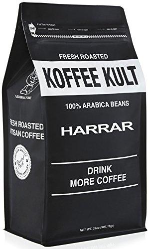 Koffee Kult Ethiopian Harrar Coffee - Whole Bean Coffee- Fresh Gourmet Single Origin - 1 Lb Bag (Whole Bean) - Packaging May Vary