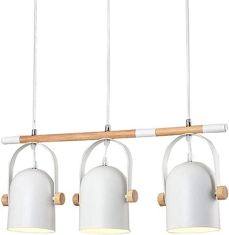Lámpara colgante vintage mesa de comedor 3-luces blanco metal ...