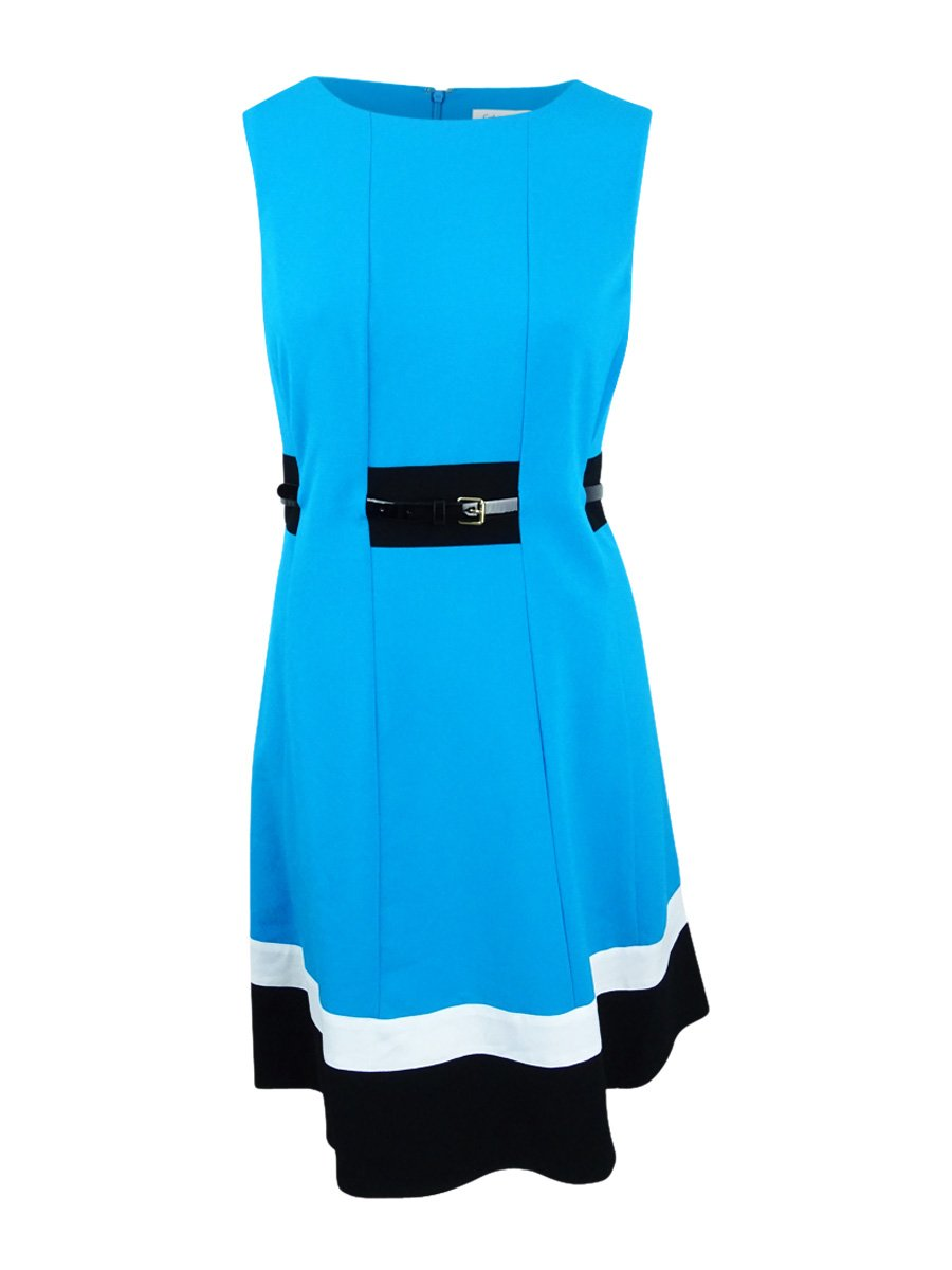 Calvin Klein Women's Plus Size Fit and Flare Color Block with Belted Waist, Cerulean Multi, 14W