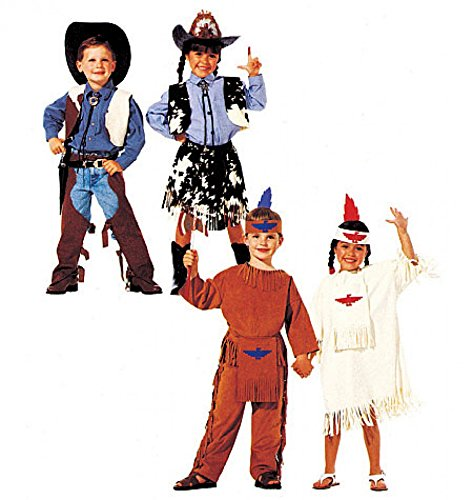 McCalls Childrens Sewing Pattern 2851 Cowboy, Cowgirl & Indians Costumes -