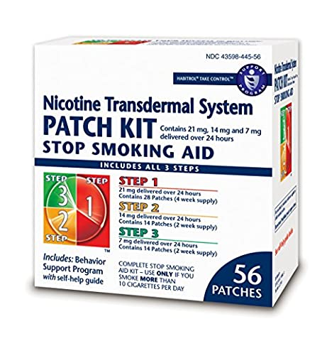 Habitrol Nicotine Transdermal System Stop Smoking Aid Kit; Steps 1,2,3; 56 Patches - 2 Step System