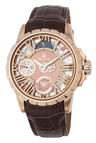 Burgmeister Men's Mechanical Hand Wind Stainless Steel and Leather Casual Watch, Color:Brown (Model: BM237-305)