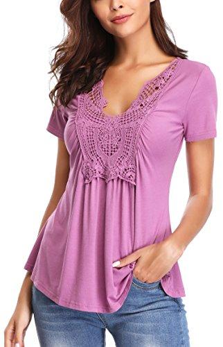ed Front Deep V Neck Short Sleeves Dance Peplum Tops Slimming T Shirts Cute Summer Blouse (Light-Purple, S/US 6) ()