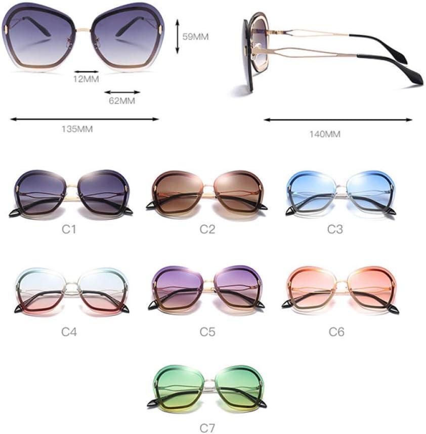 LONG FU Occhiali da Sole Senza Montatura da Donna Occhiali da Sole da Uomo in Metallo Occhiali da Sole Moda Occhiali da Donna da Donna Regalo di Natale C6 rosa