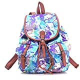 Urmiss Vintage Printed Leisure Canvas Shoulder Backpack Bookbags Travel Bag Phalaenopsis