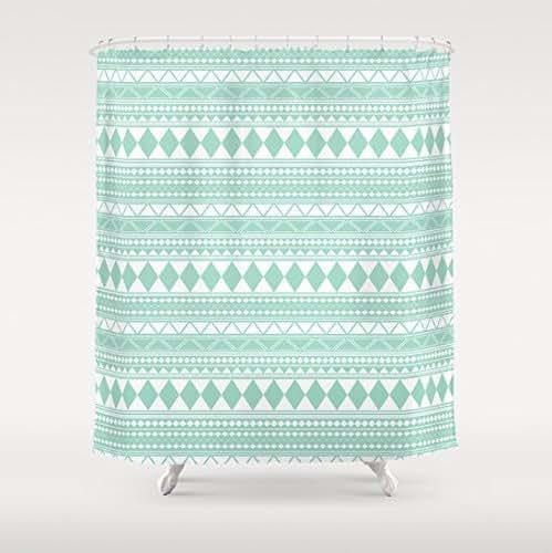 Amazon.com: Mint Green Tribal Pattern Shower Curtain: Handmade