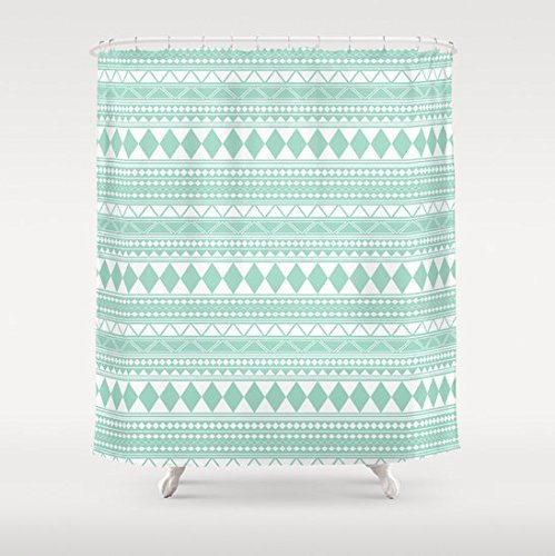 Amazon Mint Green Tribal Pattern Shower Curtain Handmade