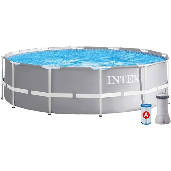INTEX Piscina elevada Metal Frame - 6503 litros, 366 x 76 cm: Amazon.es: Jardín