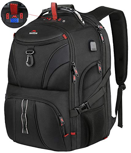 Matein Large Laptop Backpack, TSA Travel Backpack Fit 18.4 inch Gaming Laptops with Weight Scale and USB Port, Water Resistant Anti Theft Big Computer Bag for Men and Women, 55L, Black