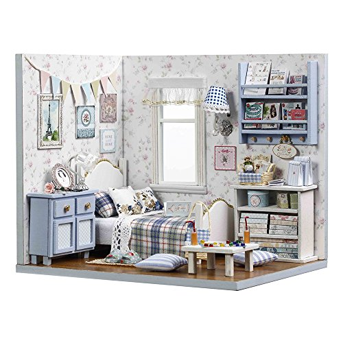 CuteBee 수제 하우스 키트 혼자 생활 서양식 방, 목재 하우스 미니어처 가구 키트, LED 조명, 먼지 커버, DIY 나무 공예 모델 컬렉션 (sunshine overflowing)