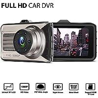 Lstiaq Car Camera FHD 1080P Dashboard Video Driving Recorder Dash Cam with Metal Shell, WDR, G-Sensor, Loop Recording (1080P)