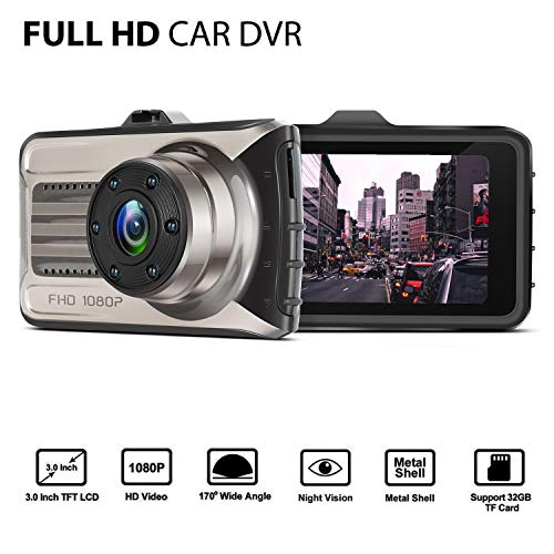 Dash cam, Lstiaq Car Camera FHD 1080P Dashboard Video Driving Recorder 170 Degree Wide Angle DVR with Metal Shell, WDR, G-Sensor, Loop Recording (1080P)